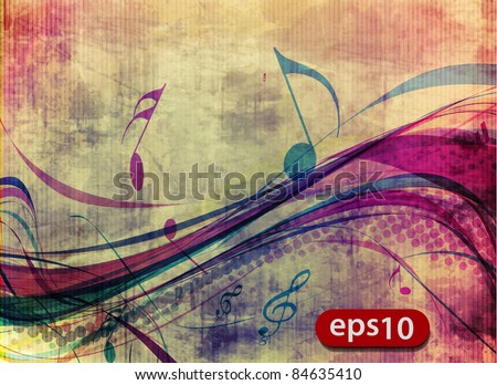 abstract music notes design for music poster use, vector illustration