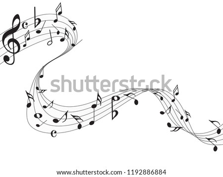 Abstract music notes on line wave background. Black G-clef and music notes isolated