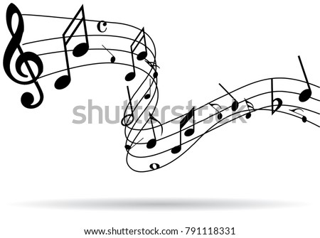 Abstract music notes on line wave background. Black G-clef and music notes isolated music notes vector illustration Can be adapt to Brochure, Annual Report, Magazine, Poster, music notes Presentation.