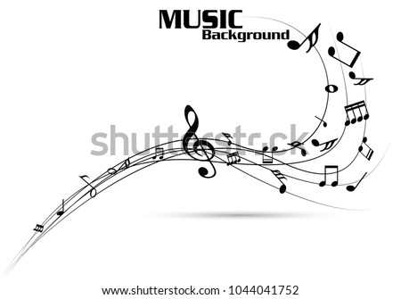 Abstract music notes on line wave background. Black G-clef and music notes isolated vector illustration Can be adapt to Brochure, music notes, Magazine, Poster, Corporate Presentation, music notes bg.