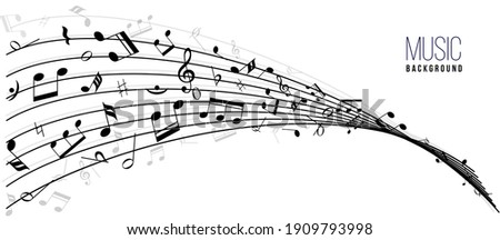 Abstract music notes on line wave background. Black G-clef and music notes isolated vector illustration. Can be adapt to Brochure, music notes, Magazine, Poster, Corporate Presentation.