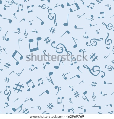 Abstract music notes seamless pattern background. Vector musical illustration melody decoration
