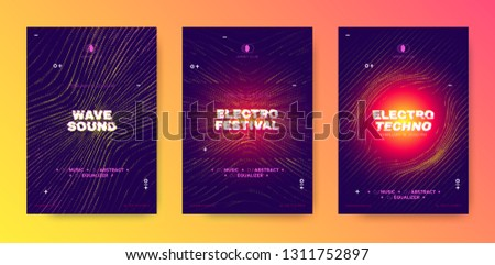 Abstract Music Poster, Electronic Party Flyer, Wave Line. Illusion Effect and Movement of Dotted Striped Grid. Night Club Posters Design, Techno Festival Promotion. Futuristic Flyer or Poster Concept.