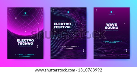 Abstract Music Poster with Distorted Wave Lines. Electronic Sound Event, DJ Party Flyer. Banner in Purple Neon for Techno Music Festival. Wave Technology Background with 3d Round. House Music Concept.