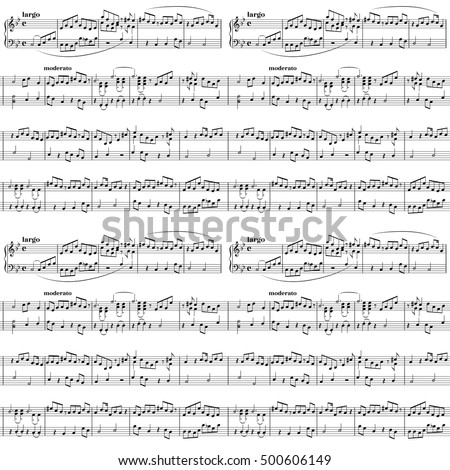Abstract music sheet on white, seamless pattern