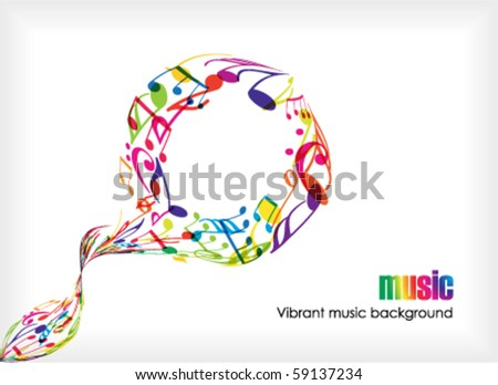Abstract music tunes on white