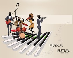 Abstract musical background with musicians, treble clef, notes. Guitar, trumpet, violin.