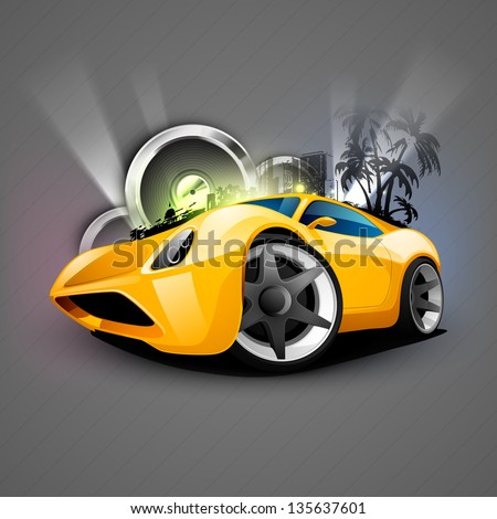 abstract musical car with