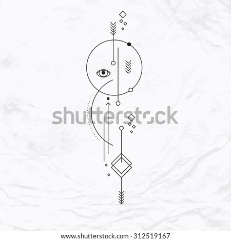 Abstract mystic sign with geometric shapes, arrows, circles, dots. Geometric alchemy and masonic symbols, eye, planets orbits. Vector linear illustration. Magic, simple, modern tattoo art, logo design