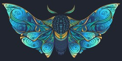 Abstract mystical Moth in psychedelic design. High-detailed vector illustration for tattoo, printing t-shirt and posters etc.
