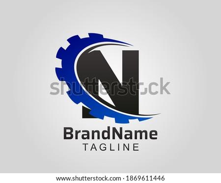 Abstract N Letter, N Gear Swoosh Logo. Foto stock ©