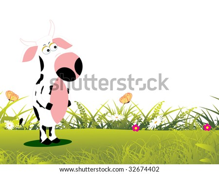 abstract natural garden background with cow in standing position