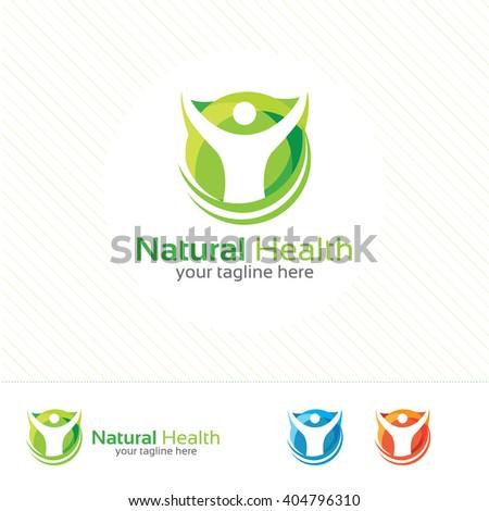 Abstract natural health logo. Nature health symbol vector. Human character illustration.
