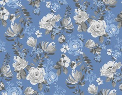 abstract natural  seamless summer  pattern. Roses flower and blossoms, with small flower elements. Fabric texture print. grey floral and leaves on a pastel blue background,