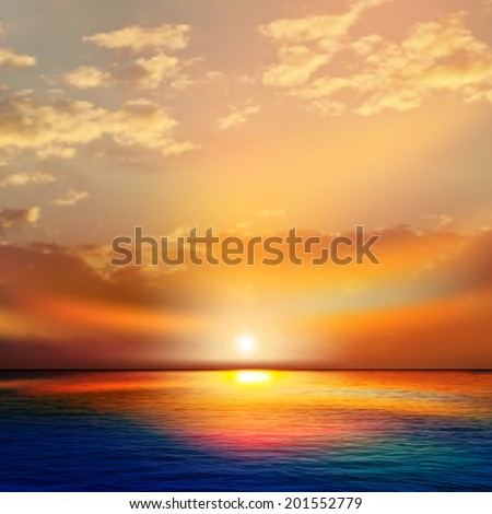 abstract nature background with sea red sunset and clouds #201552779