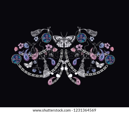 abstract nature elements and chains, paisley, stylized objects on dark background, modern design for print T-shirts, blouses, textile texture, vector illustration