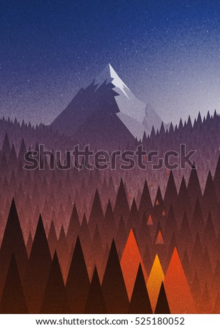 Abstract nature landscape. Mountain and forest fire. Natural disaster. Vector illustration. Elements are layered separately in vector file.