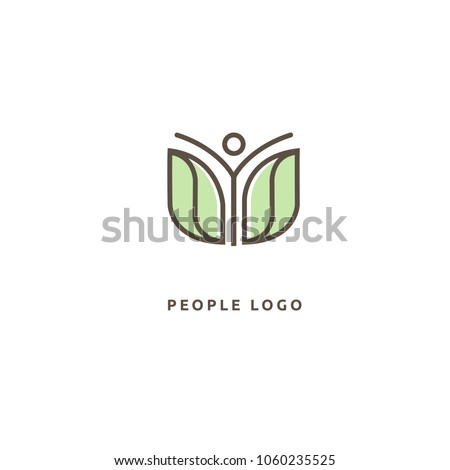 Abstract nature logo icon vector design. healthy food, ecology, spa, business, diet vector logo. Editable Design. Happy people with leafl logo. Fitness, sport web icon.