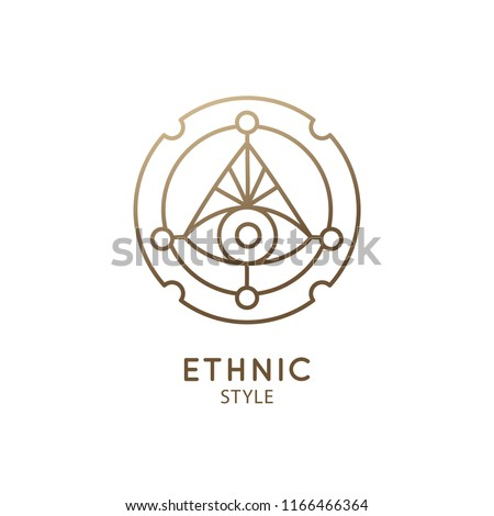 Abstract nature logo. Vector geometric badge. Sacred alchemic symbol. Outline icon of abstract shapes, piramyd - business emblem for design card, alchemy, zen, ecology, religion concepts, yoga Center.