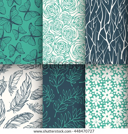 Abstract nature seamless pattern set. Vector illustration