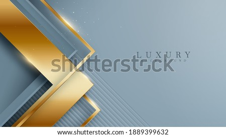 Abstract navy blue luxury background with golden line , paper cut style 3d. vector illustration. ストックフォト ©
