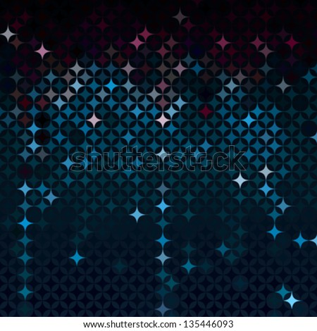 Abstract Neon Blue Vector Detailed Background With Colorful Elements Like Bursting Stars Or Glittering Gemstones