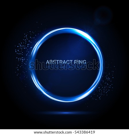 Stock Photo Abstract neon ring. Light effect. The whirlwind of shiny particles. Flashes of light on the Emerald Circle. Empty space for text. Vector illustration.