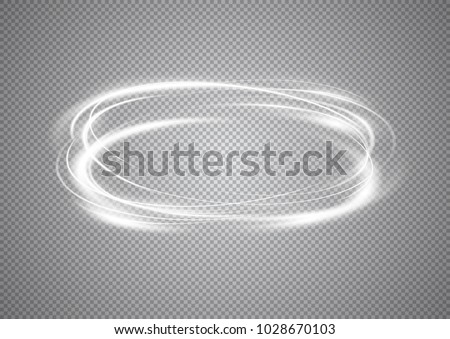 Abstract neon rings. A bright trace from the glowing rays of swirling in a fast motion in a spiral. Slow shutter speed effect. Transparent light vector illustration