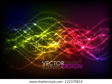 Abstract neon waves. Vector illustration. Eps 10.