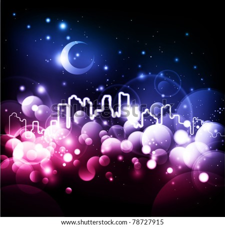 Abstract night city vector background
