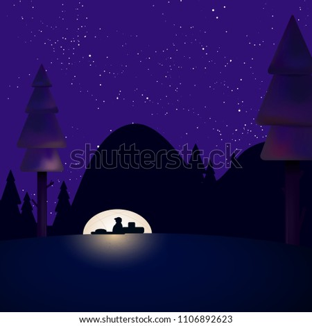 Stock Photo Abstract night landscape with tourist in tent under starry night sky - vector illustration