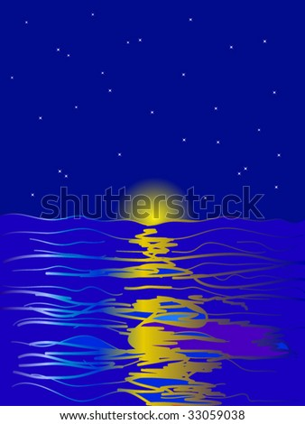 abstract night sea and moon with stars