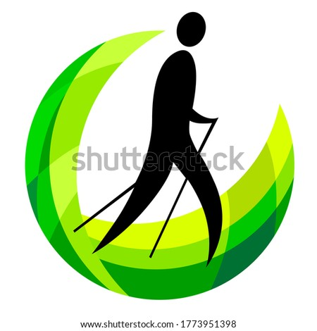 Abstract nordic walking logo in vector quality.