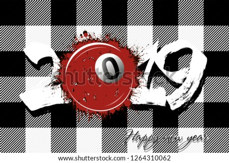Stock Photo Abstract number 2019 and a billiard ball from blots. 2019 New Year on the background of the Scottish pattern tartan. Design pattern for greeting card. Grunge style. Vector illustration