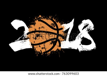 Abstract number 2018 and basketball blot. Vector illustration