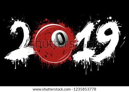 Stock Photo Abstract number 2019 and billiard ball from blots. 2019 New Year on an isolated background. Design pattern for greeting card. Grunge style. Vector illustration