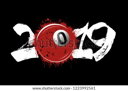Stock Photo Abstract number 2019 and billiard ball from blots. 2019 New Year on an isolated black background. Design pattern for greeting card. Grunge style. Vector illustration