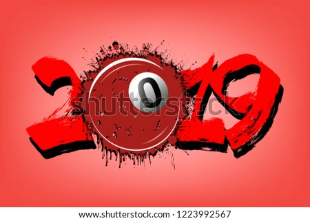 Stock Photo Abstract number 2019 and billiard ball from blots. 2019 New Year on an isolated red background. Design pattern for greeting card. Grunge style. Vector illustration