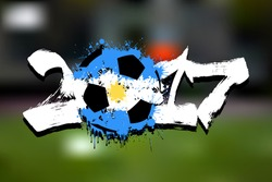Abstract number 2017 and soccer ball painted in the colors of the Argentina flag. Vector illustration