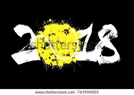 Abstract number 2018 and tennis ball blot. Vector illustration
