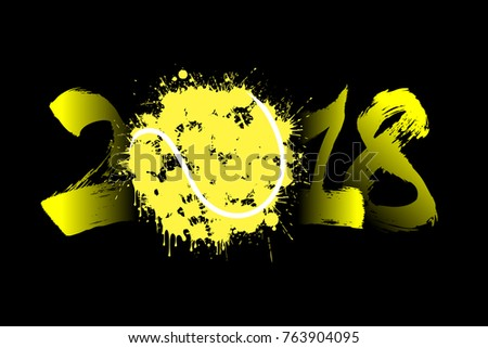 abstract number 2018 and tennis