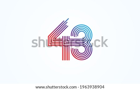 abstract 43 number logo  number