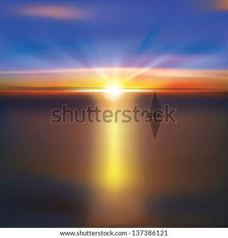 abstract ocean background with bright sunrise and yacht