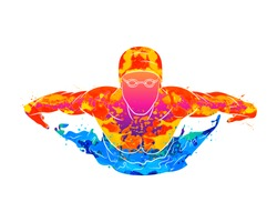 Abstract of a swimmer butterfly from splash of watercolors. Vector illustration of paints