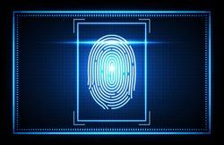 abstract of futuristic technology fingerprint, Finger Scan biometrics identification access