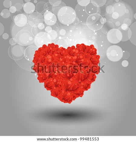 Abstract of heart shape made with  little hearts and flowers on bokeh background.  EPS 10, Vector Illustration.