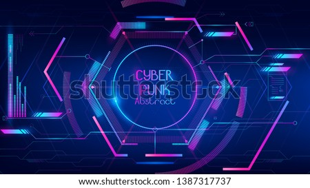 abstract of hi-tech hub in cyber punk conception consist of line,dot and geometric shape each element is glowing as colorful tone.