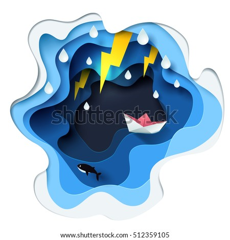 Abstract of little boat against crazy sea and thunderbolt in storm, paper art concept, vector art and illustration.