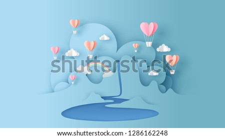 Abstract of nature landscape view scene with cloud, pond, rainbow and heart shape hot air balloons float up on sky. paper cut for valentine's day. paper cut and craft style. vector, illustration.