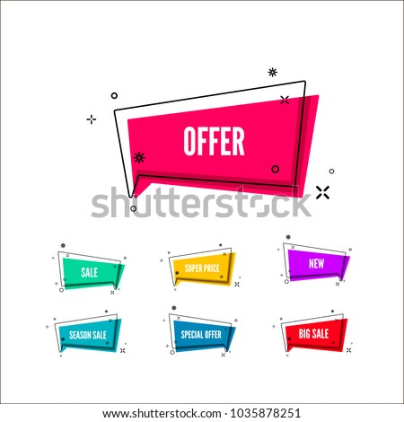 Abstract offers banner.  Colorful bubble with promotion text. Set of geometric promo template. Vector illustration isolated on white background